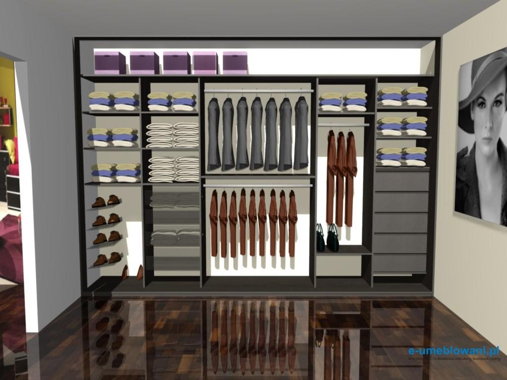 projekt szafy wnękowej, wenge, szuflady, kosze, drązki