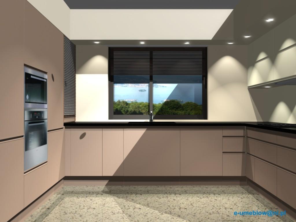 Projekty nowoczesnej kuchni otwartej beż z brązem