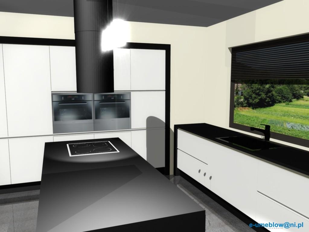 projekt kuchni bało czarnej, zlew pod oknem, barek