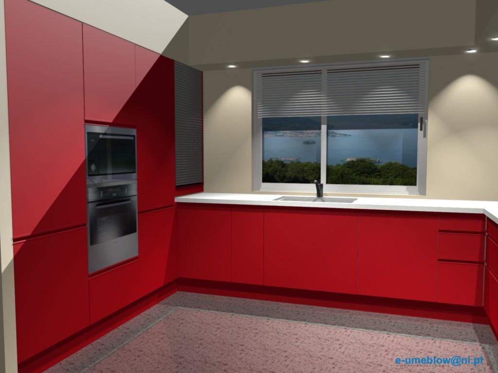 kuchnia, meble kuchenne czerwone, biały blat, Aranżacje kuchenne czerwonej kuchni w mat