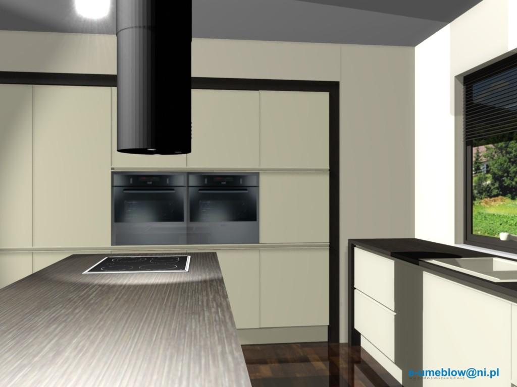 kuchnia, Aranżacje kuchenne z okapem wyspowym czarnym