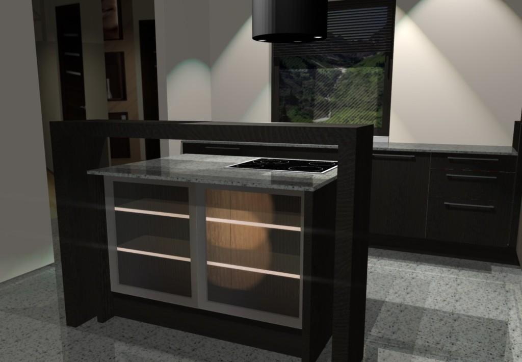 projektowanie kuchni, oświetlenie w szafce, podświetlane półki