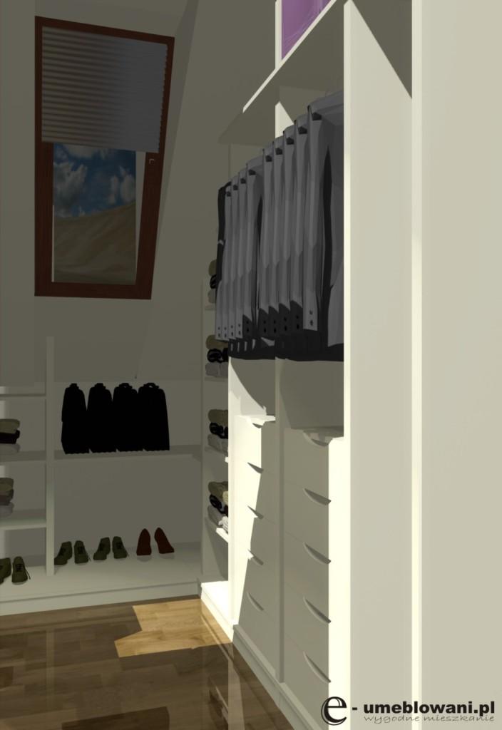 garderoba, poddasze, okno, półki na buty, aranżacje garderoby na poddaszu