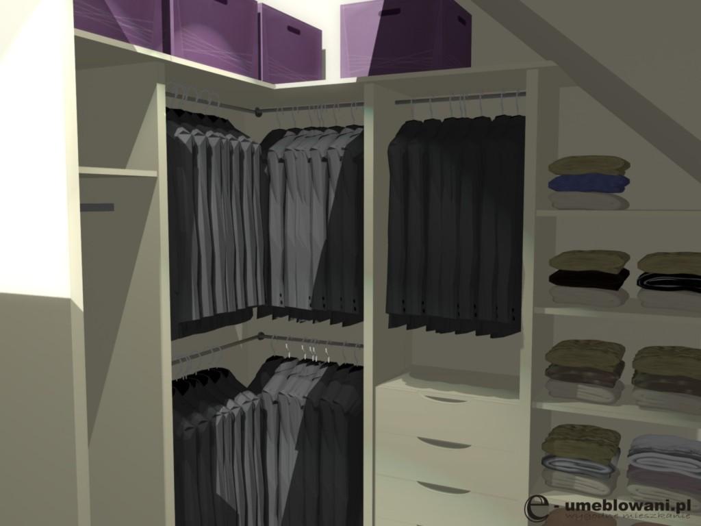 garderoba, szuflady na skarpetki, półki na ubrania, wieszaki na marynarki, aranżacje garderob waniliowej