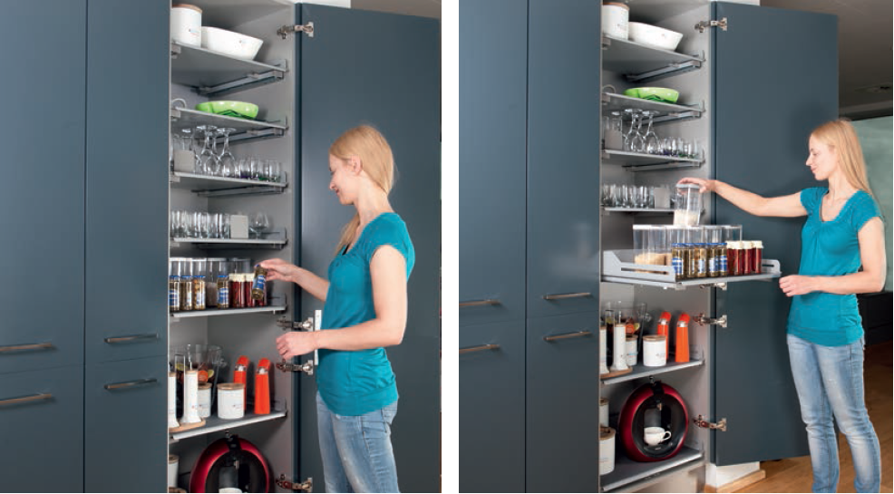 kuchnia, meble kuchenne, półki w szafkach wysuwane, Nowoczesne rozwiązania w kuchniach