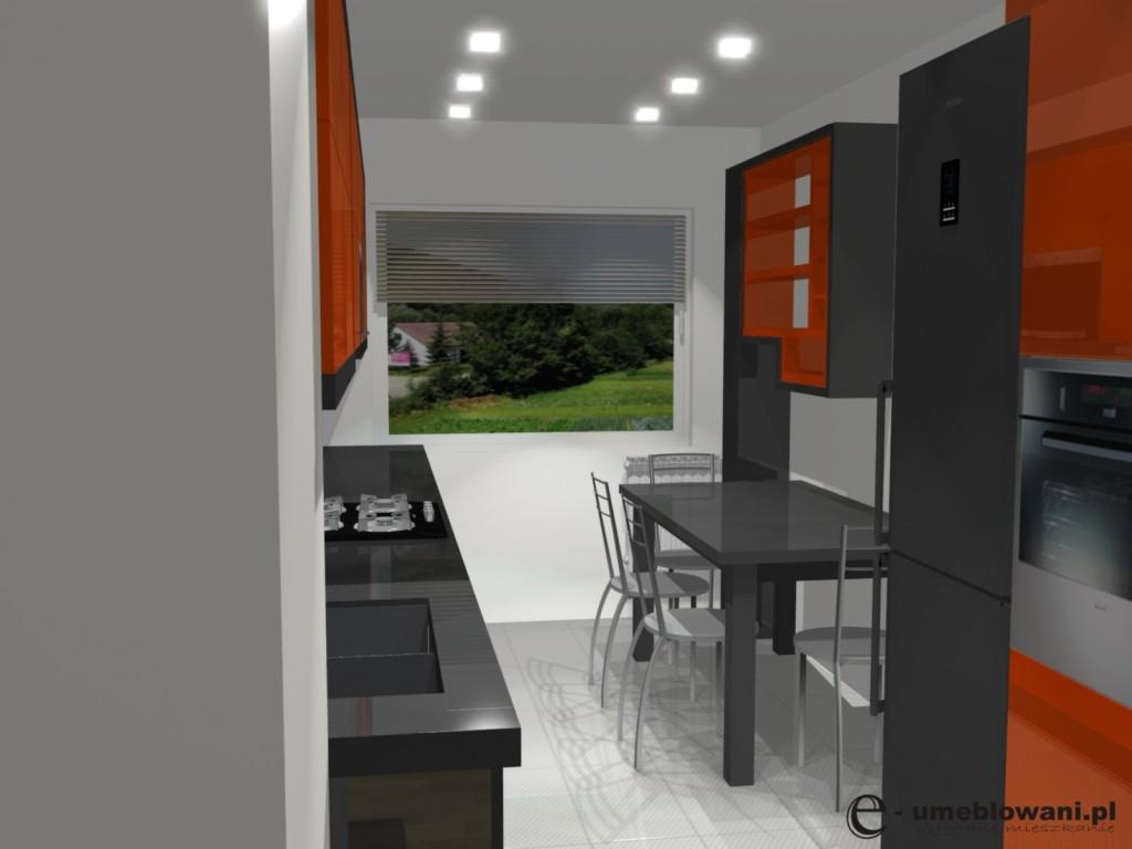 projekt kuchni pomaranczowej
