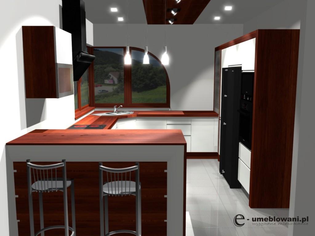 kuchnia jasna, meble kuchenne, półwysep, barek, projekt kuchni z oknem narożnym