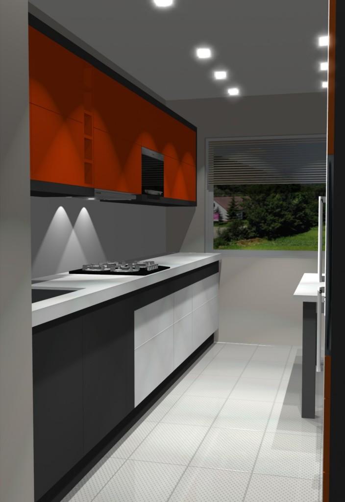 kuchna, pomarańczowa, biała, szara, Aranżacja kuchni wąskiej z jednym oknem