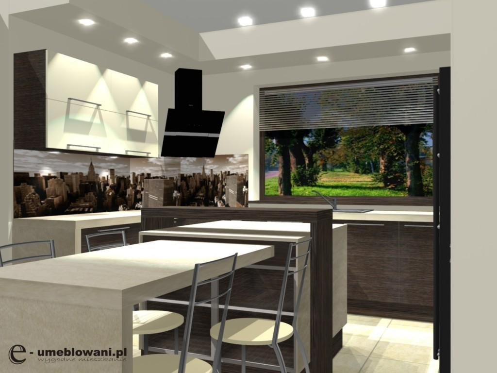 kuchnia, Fototapeta sepia w kuchni nad blatem, wyspa kuchenna