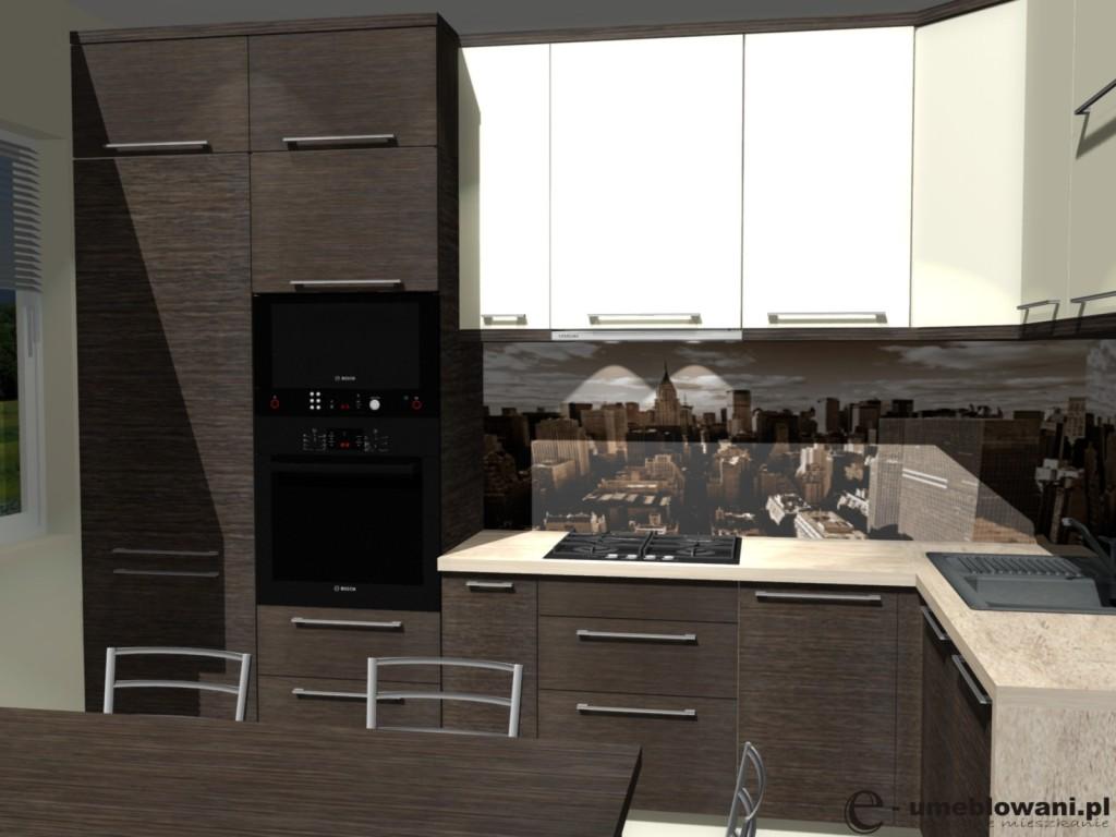kuchnia, drewno, brąz, fototapeta miasto, Tapeta w kuchni małej, stół