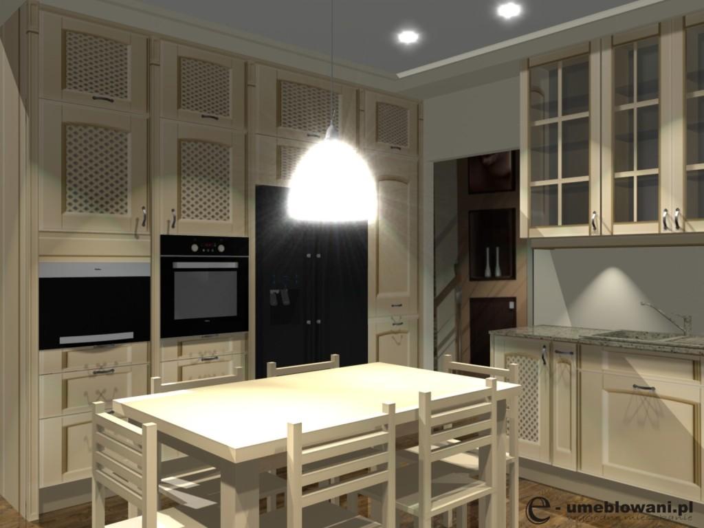 Aranżacja kuchni w stylu klasycznym beż, stół