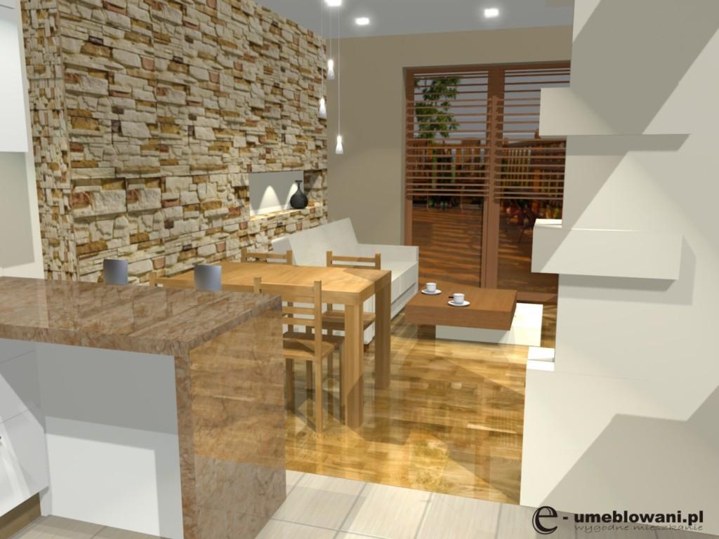 salon, kuchnia, barek, biała, szafki kuchenne do sufitu białe, kamień na scianie, aranzacje kuchni z salonem i jednym oknem