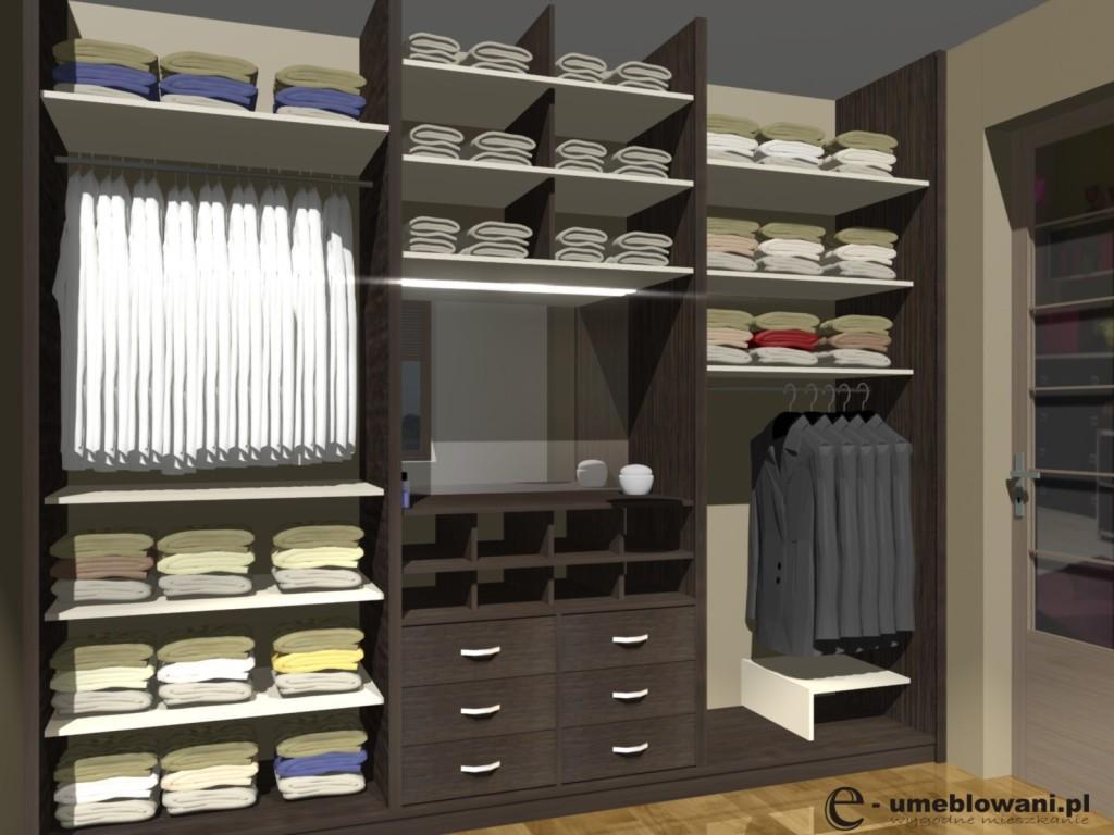 garderoba z szufladami i polkami