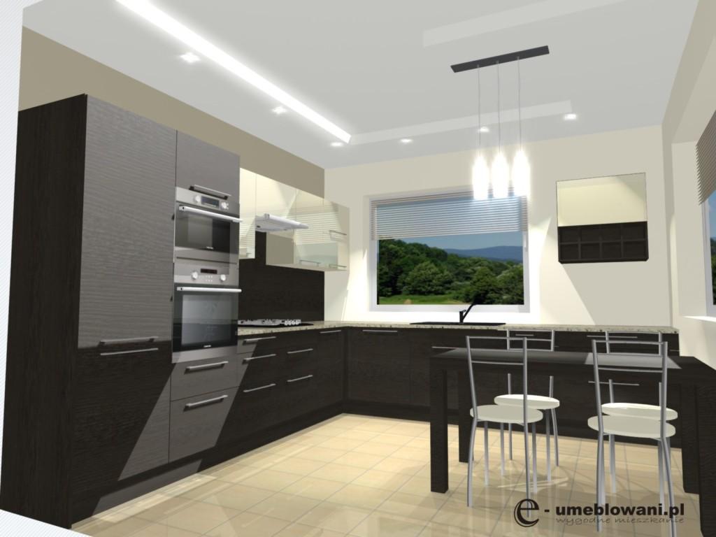 Kuchnia Wenge Z Wanilią Stół Dwa Okna Projekty Wnętrz I
