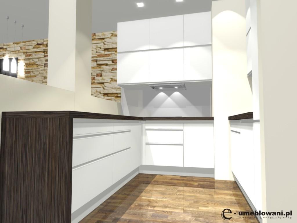 Biała Kuchnia Podłoga Drewniana Blat Wenge Projekty