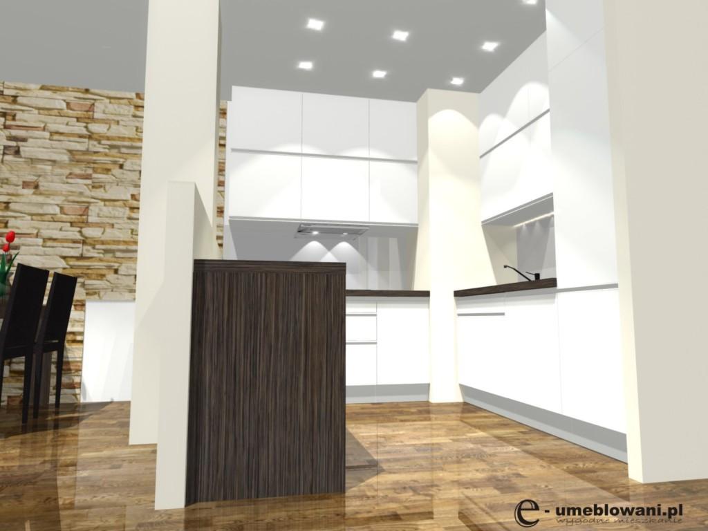 Aneks Kuchenny Biała Kuchnia Podłoga Drewniana Projekty