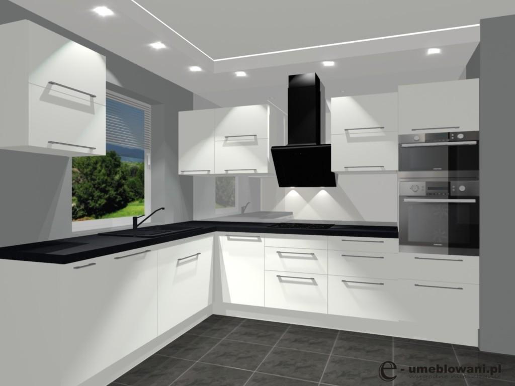 biała kuchnia, szkło białe na ścianie, uchwyty relingowe
