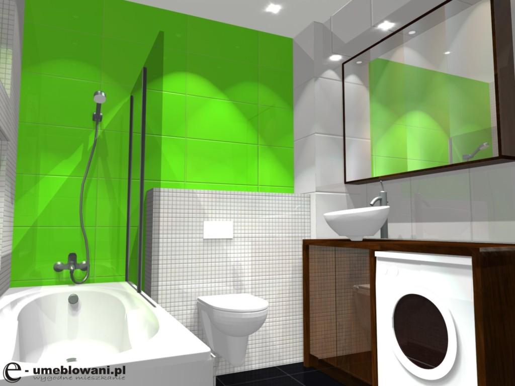 łazienka Biało Zielona Pralka Pod Blatem Umywalka