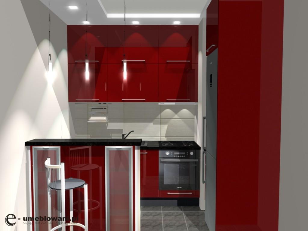kuchnia czerwona, czarny blat, Barek w malej kuchni
