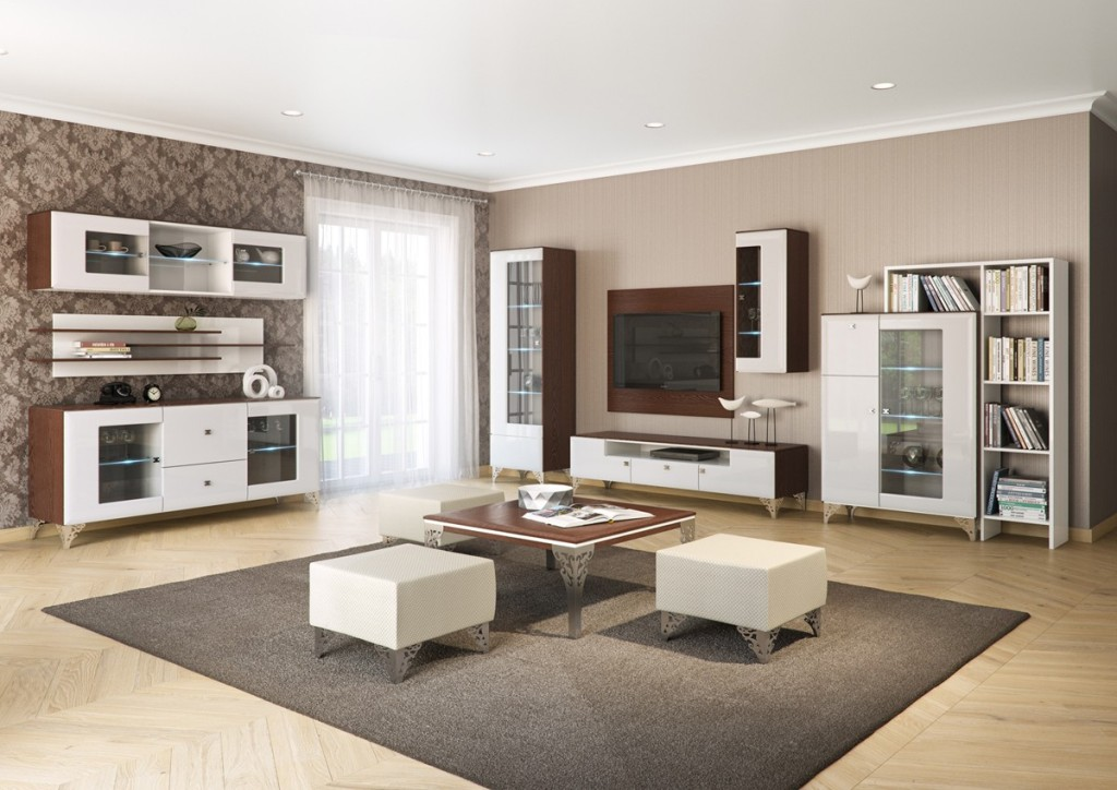 Bonita salon, stolik kawowy, mebloscianka, komoda, dywan