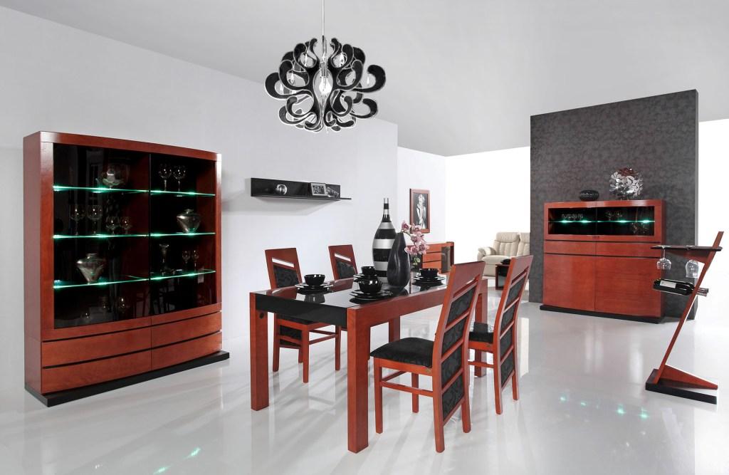 Jadalnia ArtModulo, stół szklany czarny z drewnem, komoda z led
