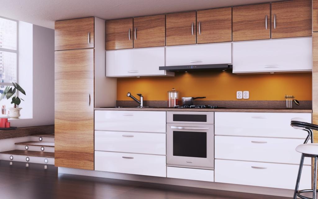 mała kuchnia biała z drewnem, Okap teleskopowy