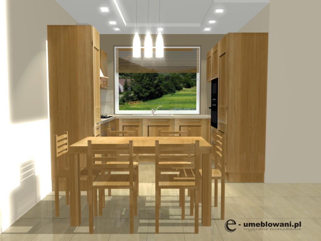 kuchnia z drewnem, stół, jedno oknoProjekt kuchni klasycznej z jednym oknem