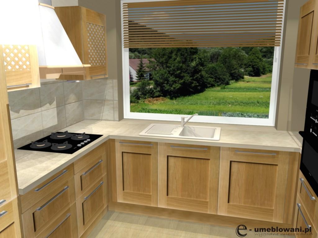 kuchnia , brąz, drewno, Projekt kuchni klasycznej z uchwytami reling