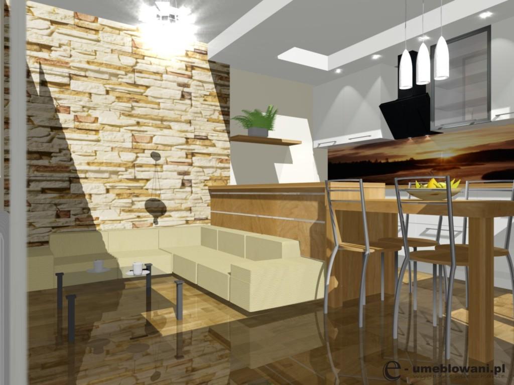 salon z kuchnią, brąz, kamień na ścianieNowoczesny projekt kuchni otwartej z salonem