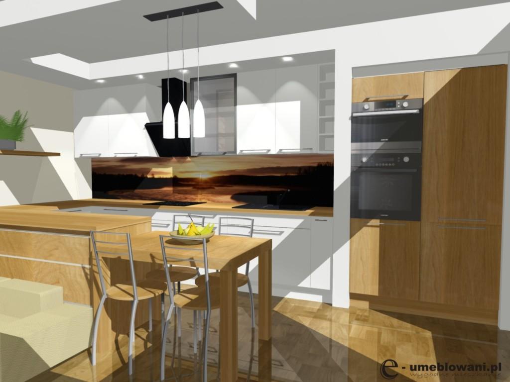 kuchnia, biała, drewno, szafki białe do sufitu, fototapeta na ścianie, projekt kuchni z salonem bialej