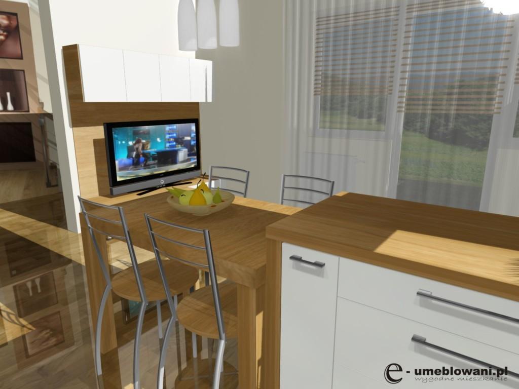 projekt kuchni z salonem z barkiem i stolem