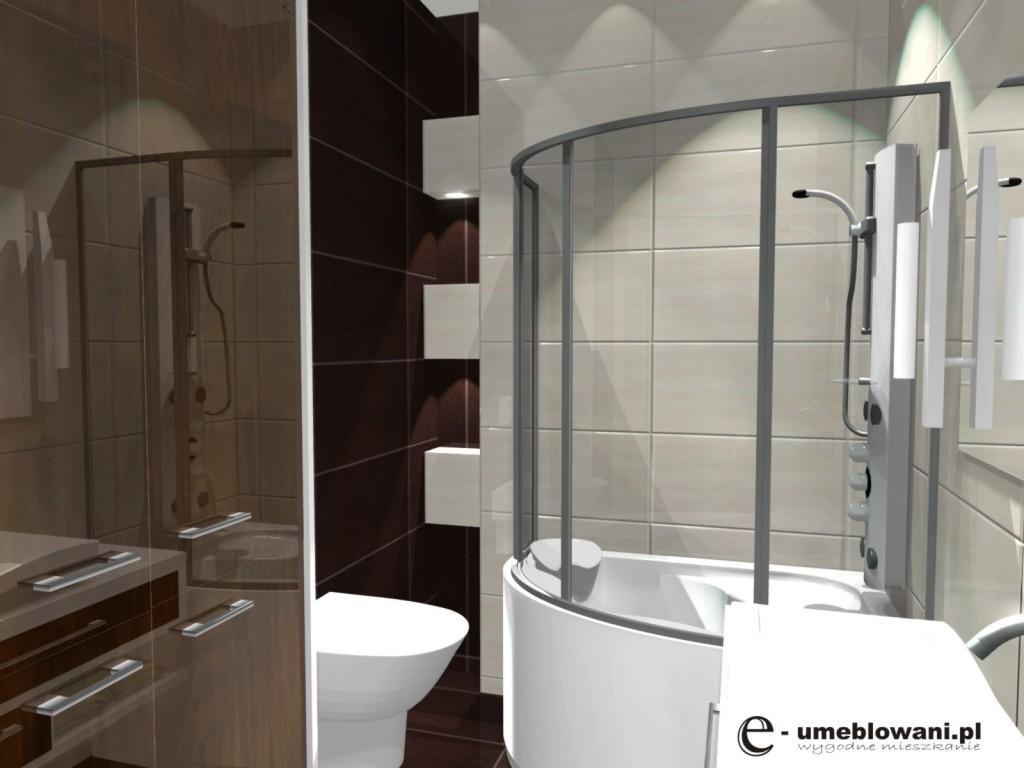 łazienka, wanna z parawanem, projekt malej lazienki brazowo bialej
