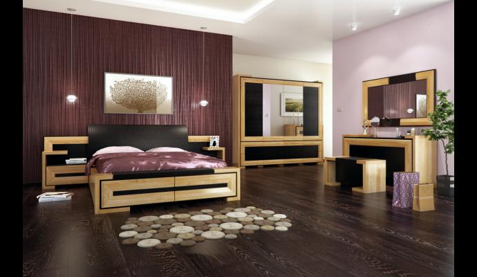 Sypialnia, toaletka, łóżko, różowa ściana