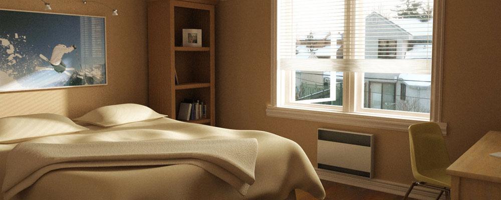 Sypialnia, kinkiety, okno, biurko