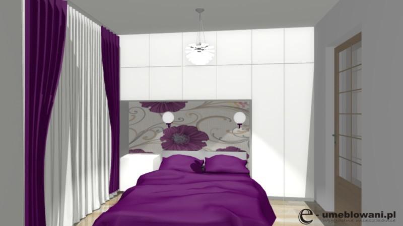 Dekorowanie sypialni, fiolet, zabudowa w sypialni, tapeta w sypialni