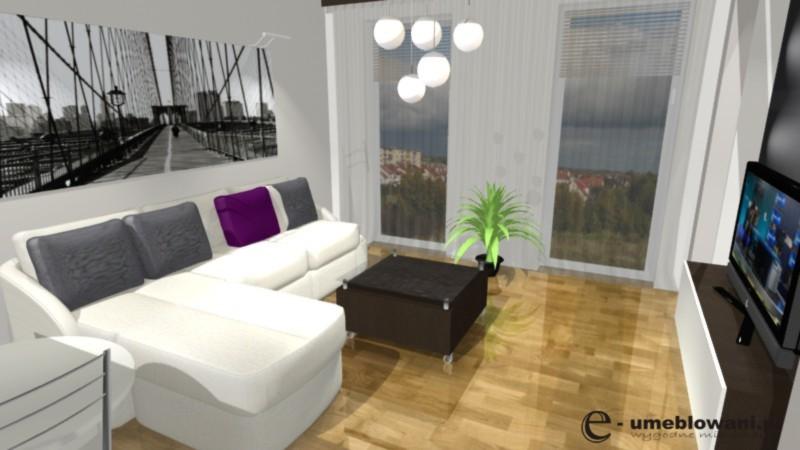 salon, naroznik, podłoga drewniana, oświetlenie