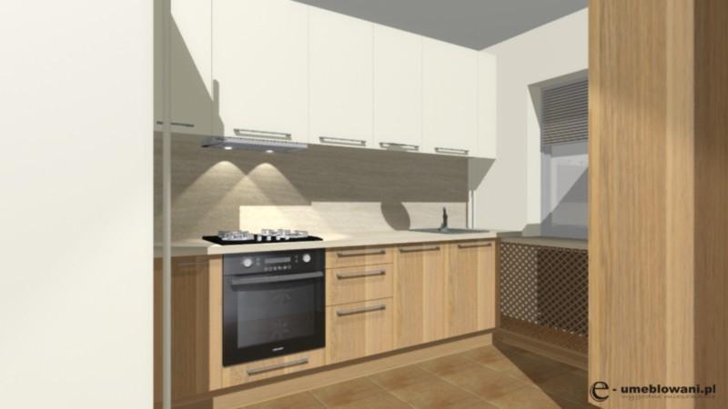 kuchnia mała, fronty beż, drewno, laminat na ścianie