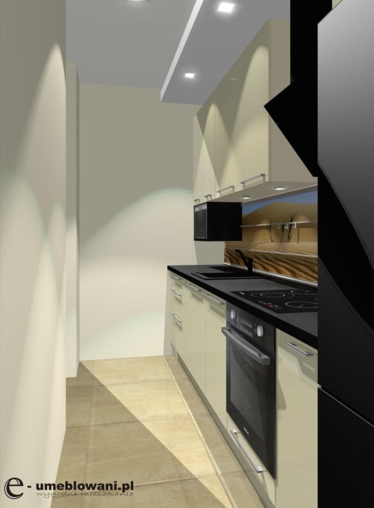 Mała Wąska Kuchnia Czarny Blat Kuchnia Na Jednej ścianie