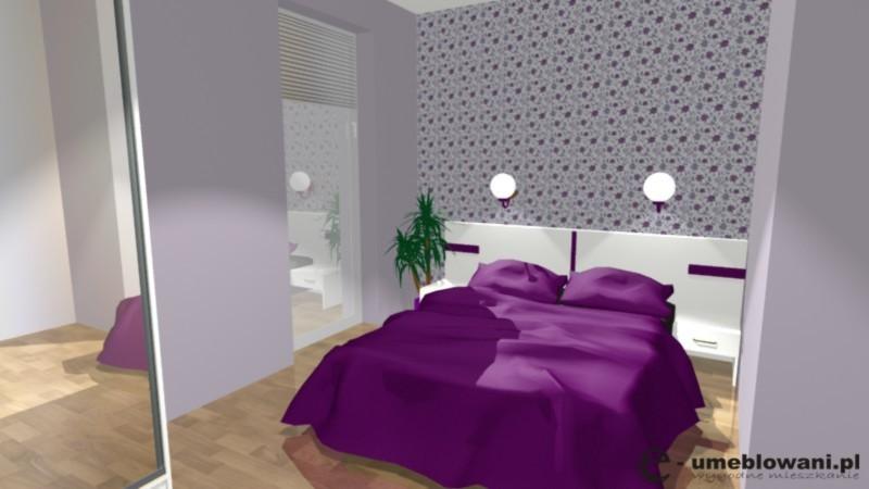 Mała sypialnia w bloku, fiolet, szafa przesuwna, dekoracja ściany