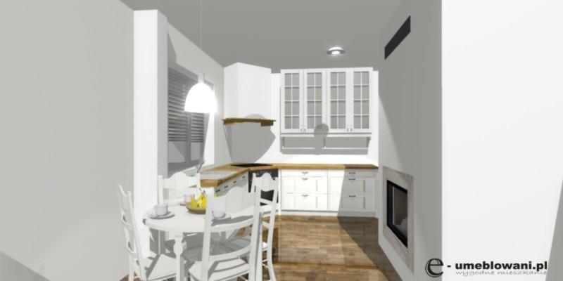 Mała jadalnia, stół, krzesła, szafki do sufitu, biała