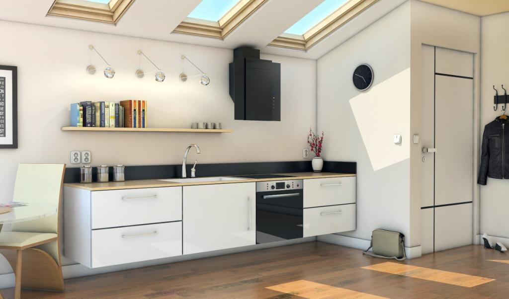 kuchnia, biała, drewno, okap kuchenny Numia aranżacja