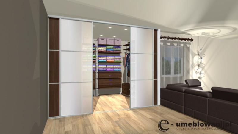 garderoba, salon, szyba mleczna, drzwi przesuwne aluminium