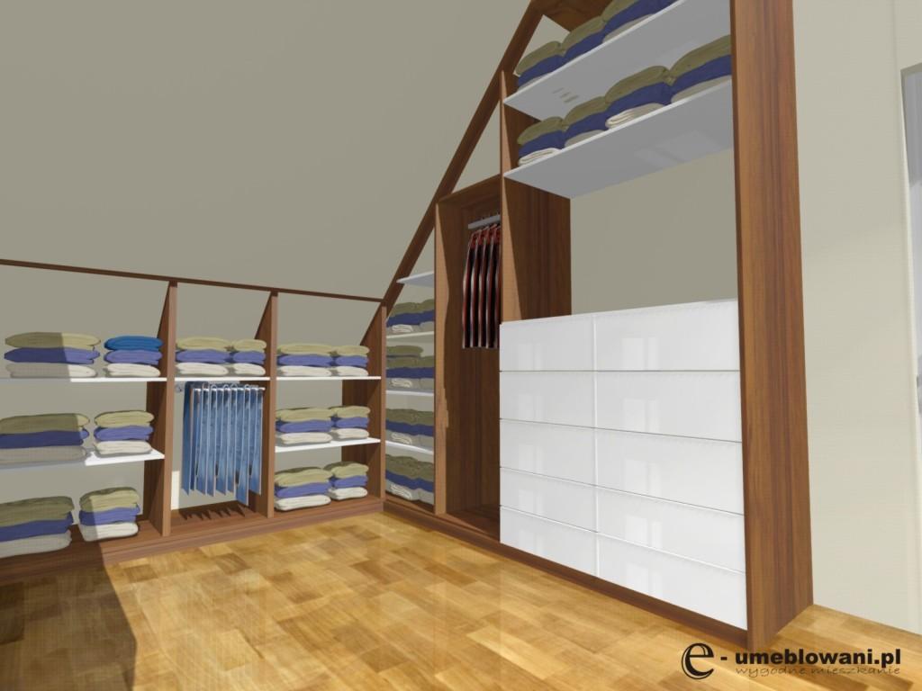 Garderoba Na Poddaszu Ze Skosem Podłoga Dąb Fronty Białe Z