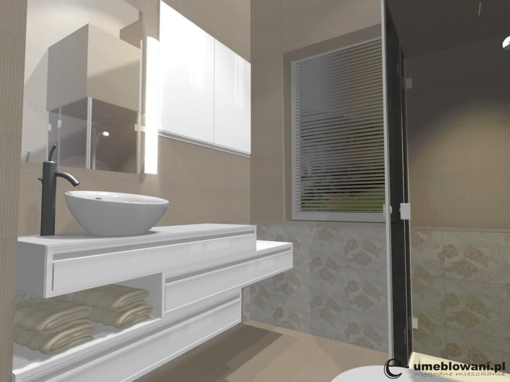 łazienka Płytki Beż Tubądzin Projekty Wnętrz I Aranżacje