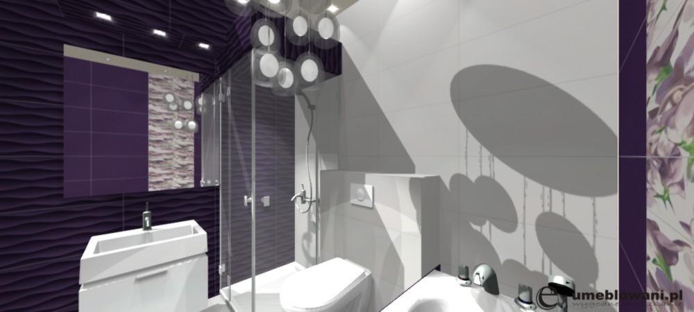 Fioletowy I Biały Aranżacja łazienki