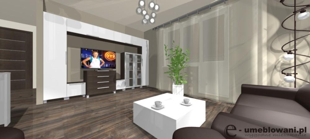salon, ściana z tv, meblościanka, stolik kawowy połysk, żyrandol w salonie