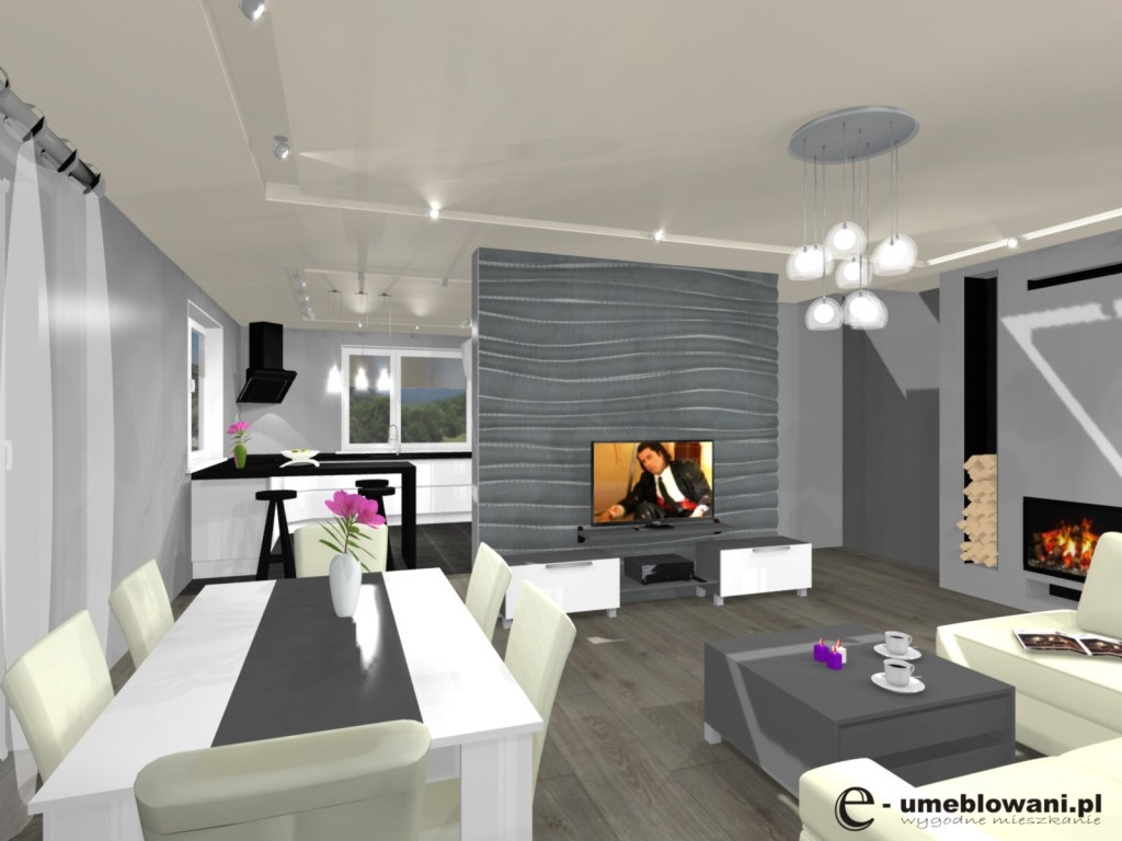 Salon Wnętrze Biało Szare Tynk Ozdobny Na ścianie Projekty