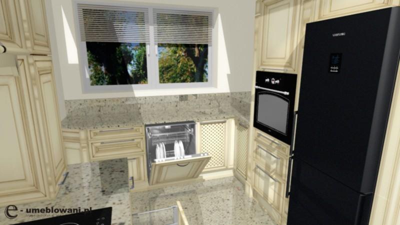 kuchnia w stylu angielskim, blaty kamienne, szafki wanilia