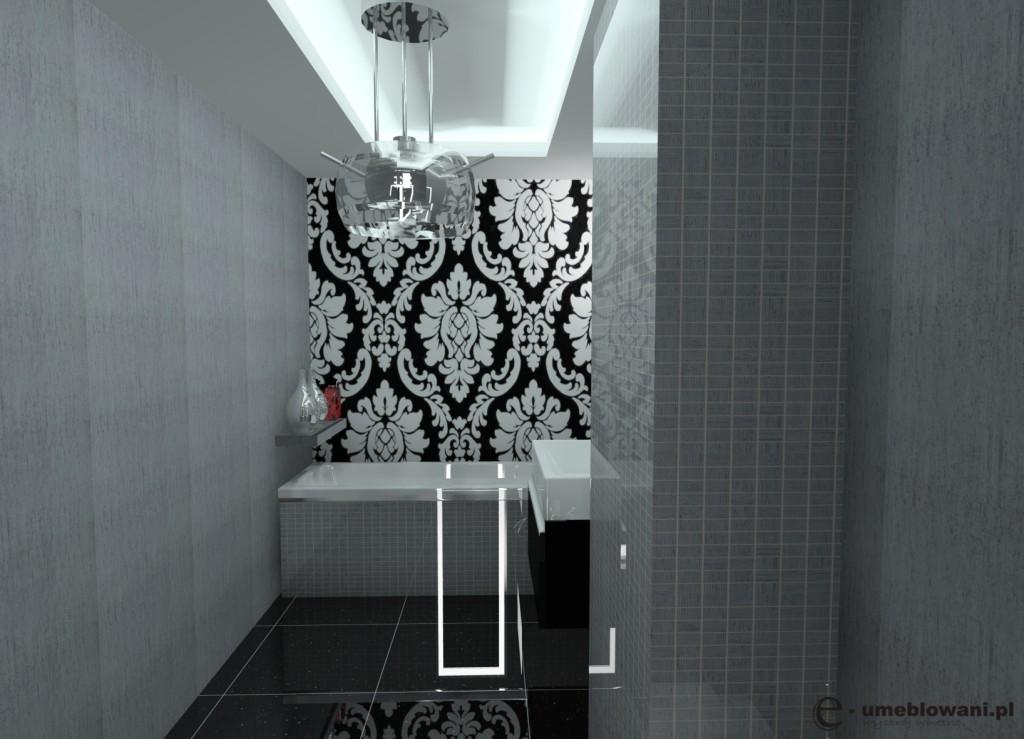 łazienka glamour, czarna, biała, szara, zabudowa wanny, mozaika szara na ścianie