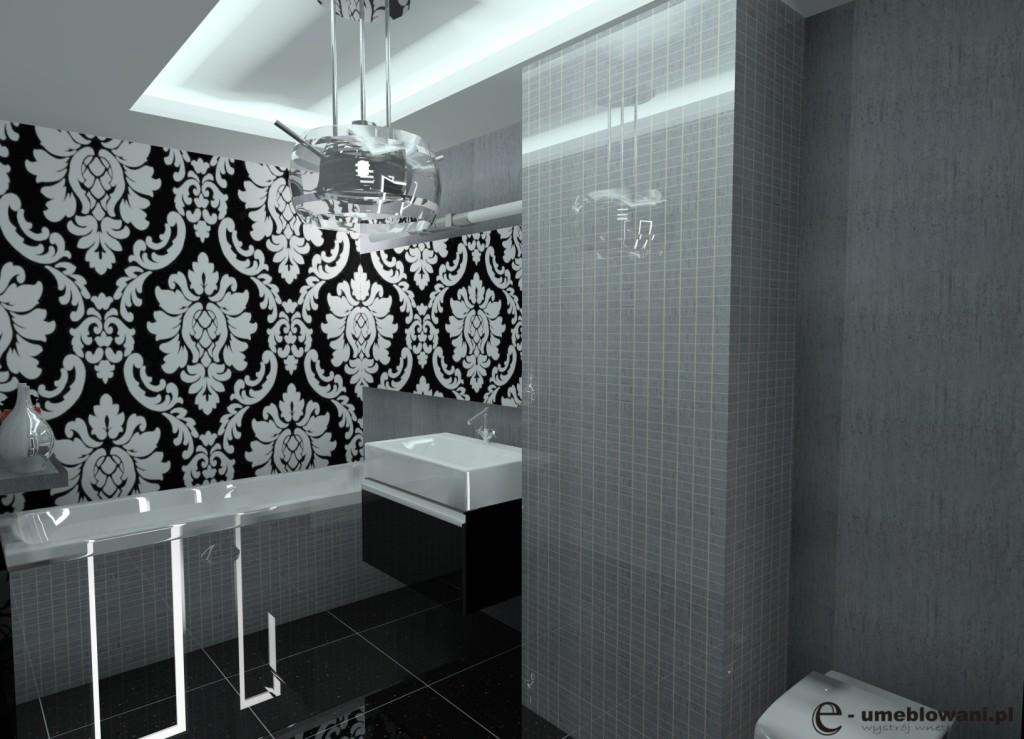 łazienka glamour, czarna, biała, szara, zabudowa wanny, płytki glamour